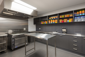commercial kitchen in childcare