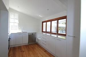 modern kitchen with servery window