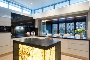 Kitchen Island Marble lit up