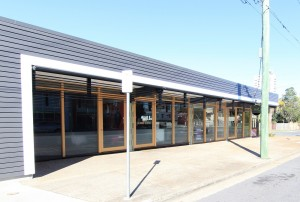 East Brisbane shopping strip facade